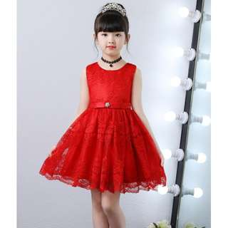 (Pre-order) Kids Princess Dress (White & Red) #572