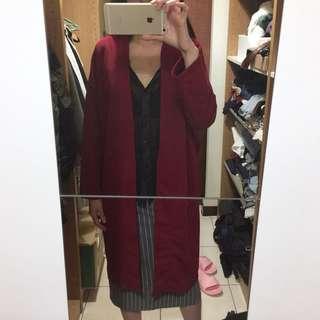 🚚 正韓製 rei shop 酒紅開襟厚雪紡長版罩衫外套