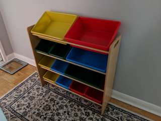 Toy bins and rack