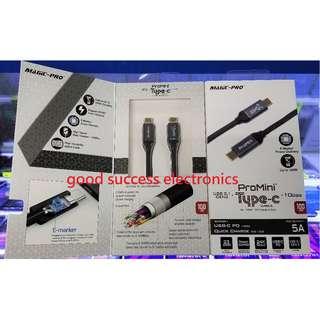ProMini Type-C USB3.1 Gen2 快充銅製PD數據傳輸線 100cm 數據傳輸達 10GB/s . 20V / 5A 充電,支援 PD 達 100W