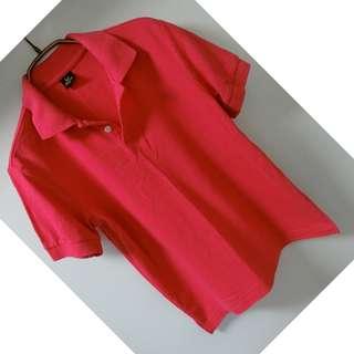 桃紅色 速乾 短袖排汗衫 POLO衫 10號