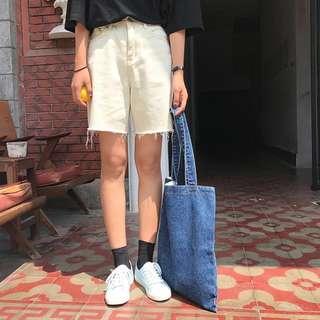 🚚 復古5分短褲/米白色