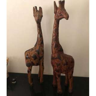 hand crafted wooden statues