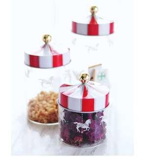 Italian Stylish Carousel Glass Jars, 意大利旋轉木馬設計密實玻璃瓶