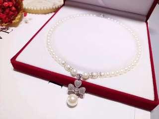 天然珍珠頸鏈+三葉草吊墜 s925銀飾