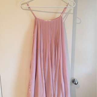 Pink tie waist satin dress