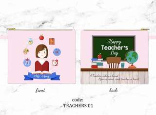 CUSTOM SATIN POUCH teachers day artwork