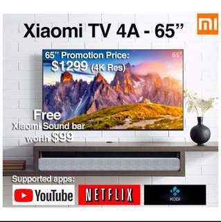 "TV Xiaomi Android TV 4A 65"" Build in Mitv Box (Ready Stock)"