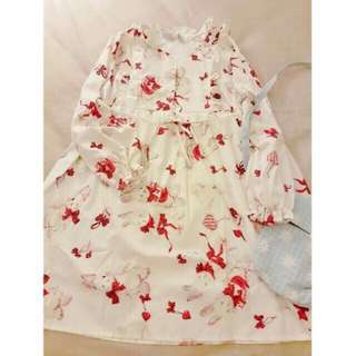 🚚 Lolita兔兔蝴蝶結滿版腰荷葉綁繩洋裝