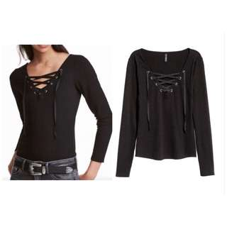 H&M lace-up long sleeve top