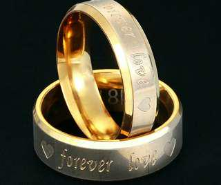"""Couple rings """"forever love"""" Gold colour + engravement"""