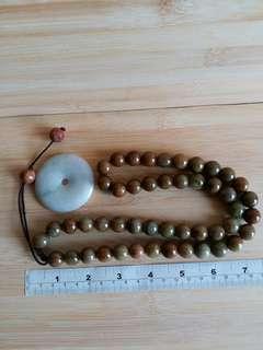 緬甸啡色a玉14mm 24吋 珠鏈, 加送一個50mm a玉平安扣
