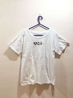 白色米奇唐老鴨布老托繡花T恤 White donald duck mickey mouse pluto Tshirt