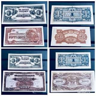 4 rare UNC 1940s SGP Jap Occ notes