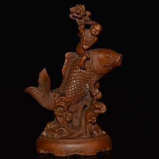 古鎮遊玩收藏 善財童子 鯉魚 連年有魚 黃楊木雕刻