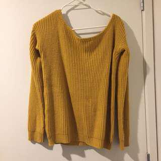 MUSTARD YELLOW OFF SHOULDER SWEATER