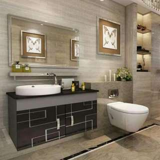 Stainless wall mounted steel bathroom cabinet wash basin toilet