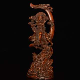 月光菩薩 黃楊木精雕 佛教美術品 供養品