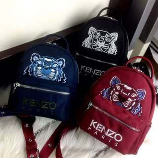 PO.3-5hari. Kenzo backpack Fossil bag. Size 20x10x21cm. (LIMITED STOCK). Kenzo mini Tiger backpack bag. 3 Warna.