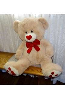 "Teddy Bear Tan Red Bow Tie  Plush 29"" hearts on sole of foot"