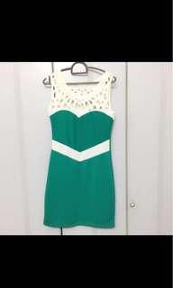 Chic green lace dress