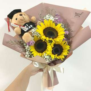 Graduation Bouquet of Sunflowers and Baby Breath
