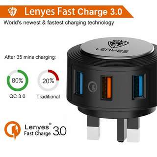 🔥$10📲40%Off🇸🇬Lenyes 3-Usb Port QC3.0 Charger LCH067-3U UK Plug Samsung Adaptor iPhone Samsung Fast charger samsung charger iphone charger fast charging plug adaptive fast charge for samsung huawei oppo xiaomi charger quick charge 3.0