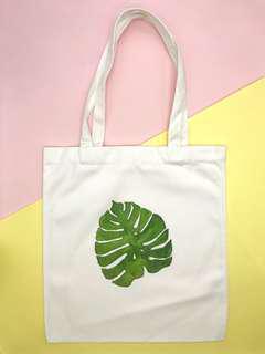 White Canvas Graphic Tote Bag (Leaf)
