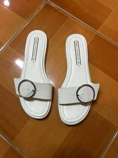 REPRICED! ZARA white slip-on sandals