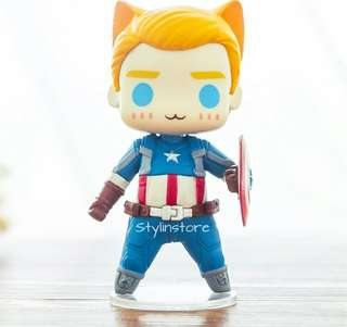 Marvel's Captain America Stebe Rogers Cat Version Action Figure (Very Detailed and Super Cute like Funko)