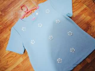 Powder Blue Flower Top