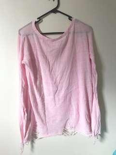 Pink distressed jumper