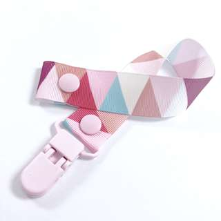 Baby Pacifier Strap (Triangles - Pink)