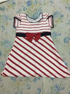 Red Stripes Baby Dress 12M