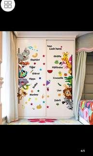 Children's bedroom door stickers cartoon animal stickers door stickers decorative stickers creative wall stickers