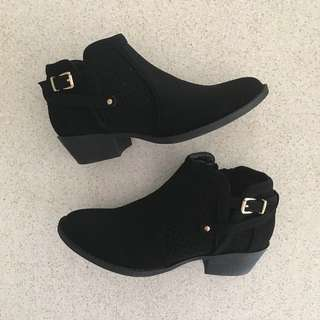 Brand New Fashion Nova Black Booties with Gold Hardware