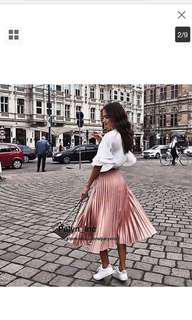 Zara Metallic Pink Pleated Skirt