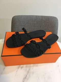 Hermes Rivage Black TPU Sandals 36