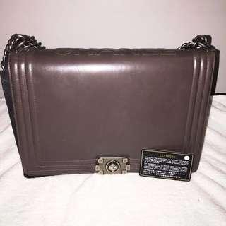 Authentic Chanel Glazed Calfskin Large Flap Boy Bag