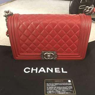 Authentic Chanel Red Quilted Le Boy Flap Bag