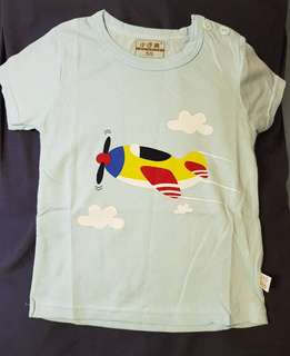 Children Blue Aeroplane Short Sleeve Shirt
