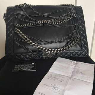 Authentic Chanel Calfskin Quilted enchained XL Leboy Bag