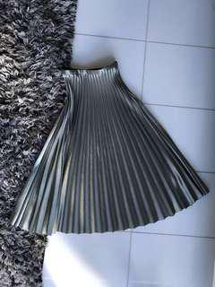 Zara Midi Pleated Skirt in Metallic Teal XS