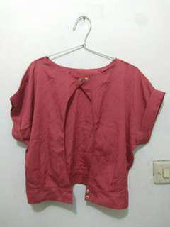Outer crop top merah bata (never been used)