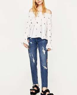 Zara Embroidered Off The Shoulder Top