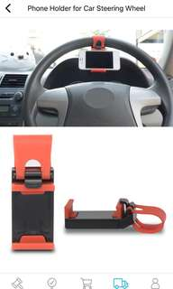 Phone holder attach to car steering wheel