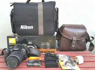 Nikon D3100 with lens nikon bag and tripod