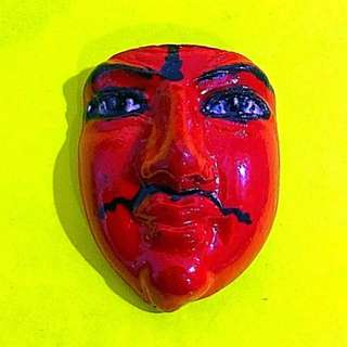 Lp Somchai Tao wessuan mask amulet - red