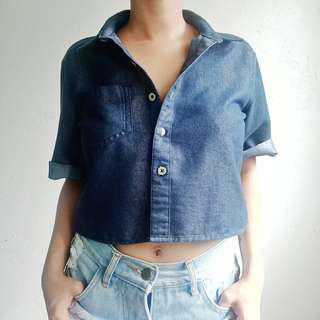 Denim Button-Down Cropped Top