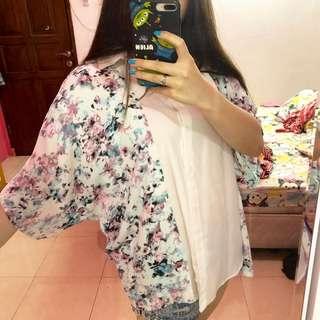 Floral outer / kimono cardigan